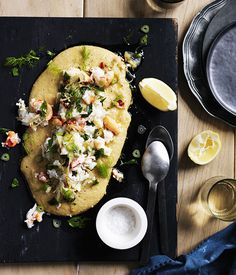 SOFT POLENTA WITH CRAB, CHILLI, LEMON AND FENNEL This recipe is inspired by a dish Robert Marchetti served during his time at Icebergs.