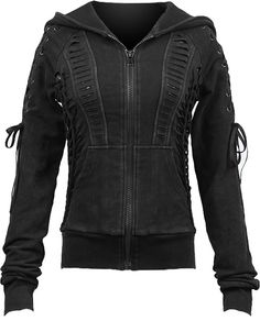 A black sweater jacket with hood from the women's clothing collection by Punk Rave, detailed with laces, torn holes and snake-skin print. Grunge Style, Dark Fashion, Gothic Fashion, Emo, Gothic Coat, Punk Rave, Jackets For Women, Clothes For Women, Gothic Outfits