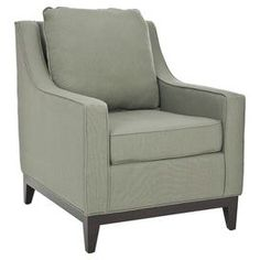 "Linen-upholstered arm chair with a birch wood frame and track arms. Product: ChairConstruction Material: Birchwood and linenColor: GrayFeatures: Generously stuffed cushionsDimensions: 35"" H x 28"" W x 34"" D"