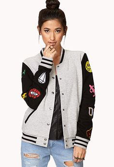 Forever Cool Patch Varsity Jacket | FOREVER21 - 2000126939