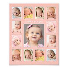 Baby Collage, Baby Photo Collages, Photo Collage Gift, Collage Book, Photo Rose, Pink Photo, Baby Pictures, Baby Photos, Scrapbook Bebe