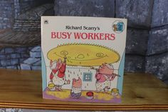 Richard Scarry's Busy workers Golden Book 1987 Look-look book read to me softcover picture children's book Vintage Retro collectible Precious Book, Richard Scarry, Pueblo Pottery, Early Readers, Mid Century Modern Art, Little Golden Books, Little Pony, Vintage Children, Pottery Art