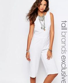 Noisy May Tall Cropped Jumpsuit With Bandeau Underlay - White. Tall Clothing for Tall Women and Tall Fashion Tall Men at PrettyLong.com