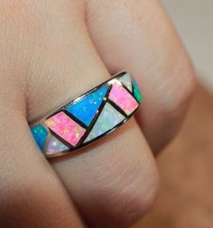 fire opal ring gemstone silver jewelry Sz 8.25 chic cocktail wedding band design #Cocktail