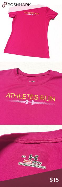 Under Armour Tee Sz XS Under Armour Tee shirt size XS. Says Athletes Run on the front. Great condition. Fun pink color. Under Armour Tops Tees - Short Sleeve