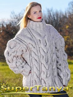 100 % Merino IVORY CREAM Hand Knitted Sweater Thick Wool Pullover ...