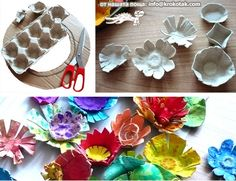 Upcycle an egg carton into a flower bouquet! Check out how Krokotak turned an egg carton into a floral wreath! photo via Krokotak . Kids Crafts, Projects For Kids, Art Projects, Arts And Crafts, Spring Art, Spring Crafts, Flower Crafts, Diy Flowers, Painted Flowers