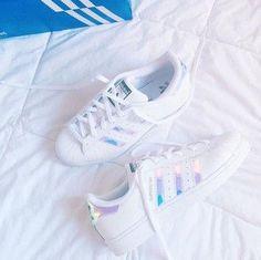 shoes adidas superstars adidas holographic holographic shoes adidas superstars white purple blue rainbow fashion sneakers stan smiths  iridescence iridescent
