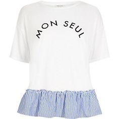 White print stripe frill hem T-shirt