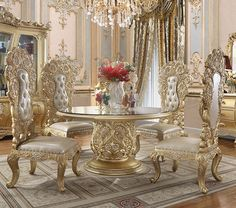 Royal Furniture, Luxury Home Furniture, Round Dining Room Sets, Round Dining Table, Luxury Dining Room, Rectangle Table, Secret Rooms, Rococo Style, Side Chairs
