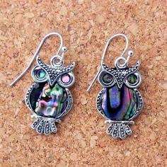 Blue green abalone shell owl earrings Details - Earring Height: 24 mm - Metal: Alloy - French Wire Hooks Bird Jewelry, Animal Jewelry, Jewelry Crafts, Jewlery, Owl Earrings, Owl Necklace, Owl Clothes, Owl Bird, Cute Owl