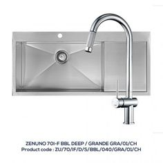 ZENUNO 70 I-F BBL – DEEP Single Bowl with Drainer with GRANDE Pull-Out Chrome Tap