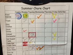 Get your chore chart going for the summer.  Kids need summer responsibilities.