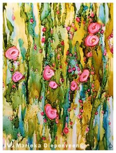Alcohol ink painting on acetate. Abstract flower art by Marieka Diepenveen Alcohol ink painting on a Alcohol Ink Glass, Alcohol Ink Crafts, Alcohol Ink Painting, Abstract Flower Art, Art Floral, Whimsical Art, Orange Wall Art, Watercolor And Ink, Natural Dyeing