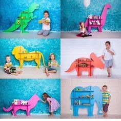 Original shelves in the form of animals)))) . Diy Furniture Projects, Small Furniture, Baby Furniture, Childrens Shelves, Chef D Oeuvre, Kid Table, Kids Room Design, Safari Nursery, Kids Corner