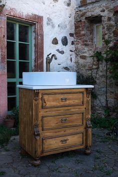 Bad Badunterschränke - Antik Waschtisch, Kommode , Waschkommode - ein Designerstück von Lybste-Badmoebel bei DaWanda