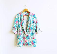 Mint Green Floral Vintage Blazer / Slouchy Oversized Jacket / Vintage Floral Blazer / Summer Linen Floral Jacket