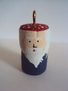 Little Gnome Cork Ornament - Woodland Christmas Decor - Fairy Folk Art Forest Gnome - Hand Painted C