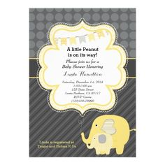 Shop Yellow Elephant Baby Shower Invitation created by Pixabelle. Baby Shower Supplies, Baby Shower Themes, Shower Ideas, Elephant Theme, Elephant Baby, Baby Shower Invitation Cards, Invitations, Baby Elefante, Baby Pool
