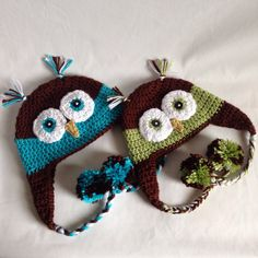 Child Owl Beanie with Earflaps and Pom Poms - Crochet Beanie - Owl Beanie - Crochet Hat - Baby Beanie - Child Beanie - Photo Prop on Etsy, $18.00
