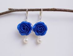 Deep Blue Rose Earrings, Green Flower Earrings, Bridesmaid Earrings, Navy Blue Flower Earrings.