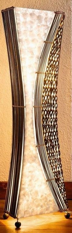 Stehlampe Höhe 100 cm,Lampe.Perlmutt,Stoff und Holz,4805100,Stimmungslampe,Bali