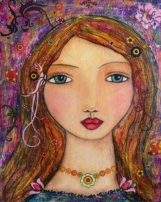 Portrait Painting Art Mystical Mixed Media Girl Art Print on Wood. $35.00, via Etsy.