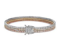 Triple Row Diamond Tennis Bracelet in 18k White, Yellow and Rose Gold (4.75 ct. tw.) | Blue Nile