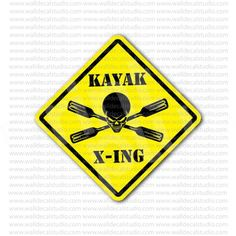 Kayak Crossed Paddles Skull Inside Sign Sticker