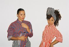 The amazing Vaz sisters in the Napitus shirt, Revyy trousers and Reimi dress. Marimekko, Vancouver, Latest Fashion, Sisters, Trousers, Stripes, Unisex, Fashion Outfits