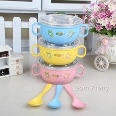 $11.04 1Pc 2-Schicht Baby Wärmeisolierung Edelstahl Schüssel mit Griff Löffel zufällige Farbe - BornPrettyStore.com
