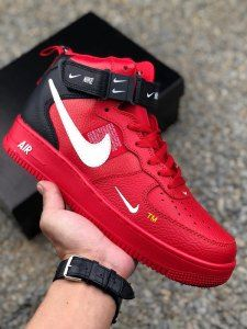 Nike Air Force 1 Low AF1 OW Lychee leather University Red Black white Mens  Womens Running Shoes 0754d5888