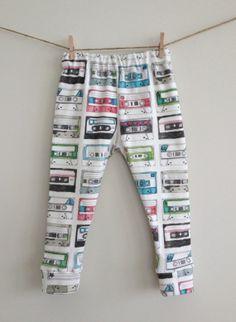 Organic Modern Baby Girl Toddler Retro 80s Love Mixed Tape Cotton Knit Leggings Pants
