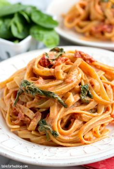 Cheesecake Factory Copycat: Sundried Tomato Fettuccine {Lightened Up} - Table for Two