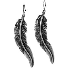 Lucky Brand Long Feather Drop Earring found on Polyvore