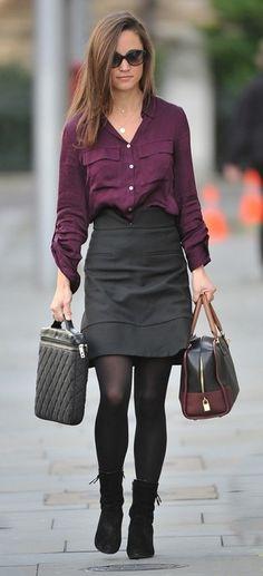 maroon shirt, gray skirt, black tights and shoes