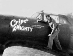 """One of the aces America lost over the Holidays was Major George Preddy, the top scoring pilot with the P-51 Mustang. George was killed on Christmas Day 1944. He is seen here as a Captain posing with his P-47D Thunderbolt """"Cripes A' Mighty"""" in late 1943. Preddy scored only three victories with the P-47 but went on to score a record 23.83 in the P-51 Mustang"""