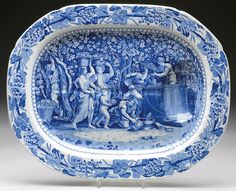 STAFFORDSHIRE BLUE TRANSFER DECORATED WELL AND TREE PLATTER. 16-3/4 x 21