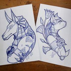 Dope Tattoos, Anime Tattoos, Body Art Tattoos, Sleeve Tattoos, Tattos, Egyptian Drawings, Egyptian Art, Tattoo Sketches, Tattoo Drawings