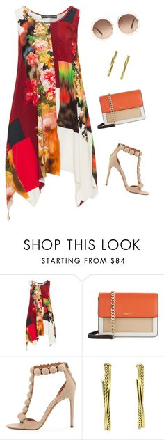 """""""Untitled #3530"""" by elia72 ❤ liked on Polyvore featuring Champagne, DKNY, Alaïa, David Yurman, Chloé and plus size clothing"""