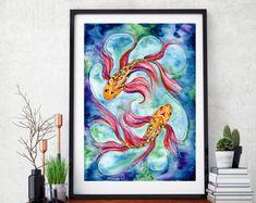 Goldfish art print, watercolor goldfish, koi fish, goldfish, goldfish decor, goldfish wall art