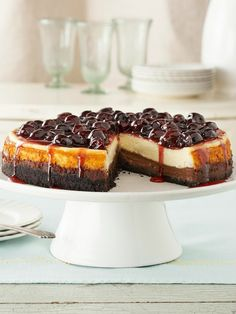 Cherry-Glazed Black Bottom Cheesecake -- Here's the cheesecake version of the classic German dessert recipe, Black Forest cake -- made with chocolate and cherries on a cookie-crumb crust.