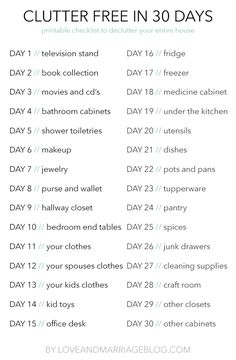 30 Day Clear The Clutter Challenge Declutter Your Entire House in 30 Days with this easy free printable checklist. 30 Day Clear The Clutter Challenge Declutter Your Entire House in 30 Days with this easy free printable checklist. House Cleaning Checklist, Household Cleaning Tips, Deep Cleaning Tips, Cleaning Hacks, Cleaning Schedules, Cleaning Recipes, Cleaning Challenge, Clean House Schedule, Clean House Meme