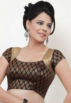 Short Sleeve Printed Black Saree Blouse