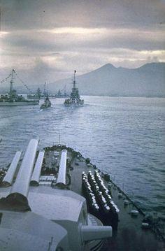 Battleships Conte di Cavour and Giulio Cesare in the Naples gulf. Note the nice landscape with the Vesuvio...