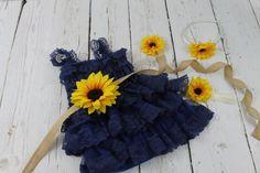 Navy Flower Girl Dress Sunflower Flower Girl by LisaAnnsCreations