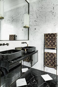 Charmant Black And White Marble Bathroom Completed With Louis Vuitton Towels.    Dream Homes