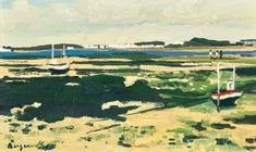 Georges Borgeaud - Marée basse. Bretagne, 1984 (?) - Huile sur toile, 33,5 x 55 cm. 1984, Golf Courses, Painting, Art, Oil On Canvas, Bass, Brittany, Art Background, Painting Art