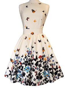 Lady V London Beautiful White Butterfly Tea Dress
