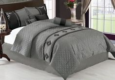 """7Pcs King Grey Embroidered Quilted Comforter Set by KingLinen. $69.99. This designer comforter set features embroidered medallion with quilted diamond stitches. Great for any bedroom. 3 decorative pillows included.FeaturesSize: KingColor: GreyThis set includes:1 Comforter (101""""x86"""")2 Shams (20""""x36"""")1 Bedskirt(78""""x80""""+14"""")3 Decorative Cushions. Save 70%!"""